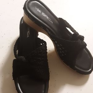 Via Spiga black open clogs
